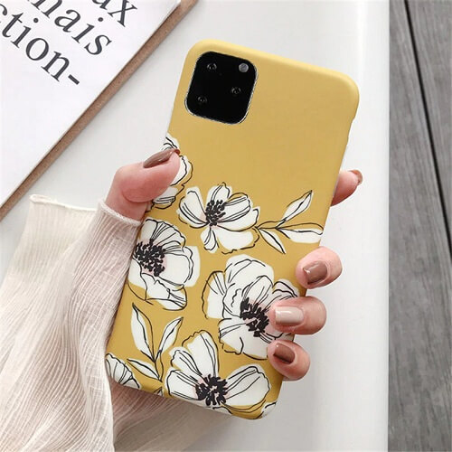 Yellow Watercolor Retro Flower Phone Case For iPhone