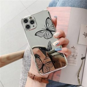 bLACK Mirror Butterfly Lens Protection Phone Case