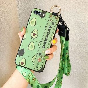 Avocado phone case with wrist strap, lanyard, and neck strap