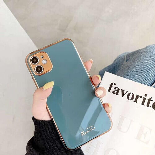Blue gold plated phone case
