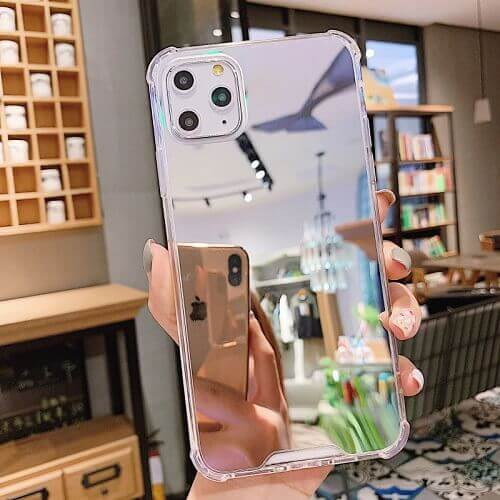 Silver Shockproof Makeup Mirror Phone Case For iPhone Xs Max