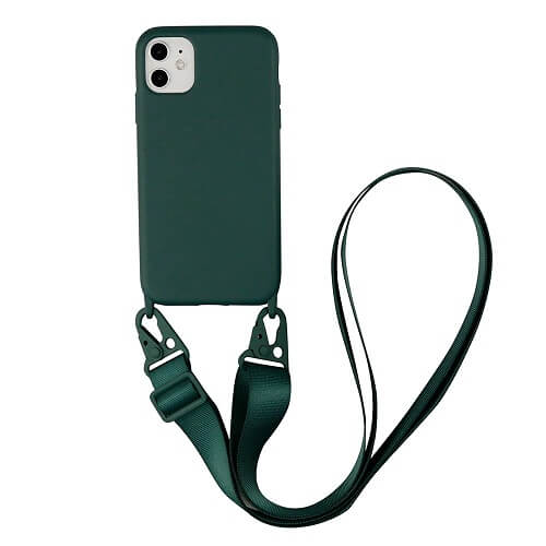 Army green Silicone iPhone Case with Crossbody Strap
