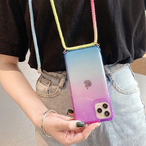Gradient Rainbow Phone Case With Neck Cord