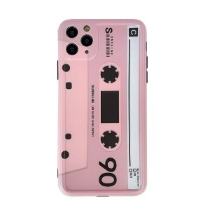 Pink cassette phone case