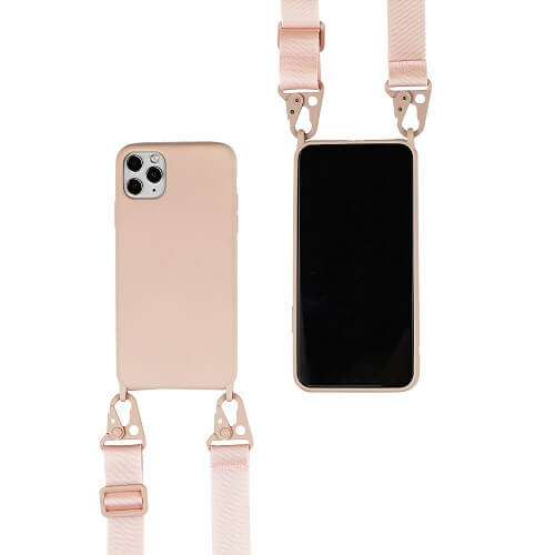 pink Silicone iPhone Case with Crossbody Strap