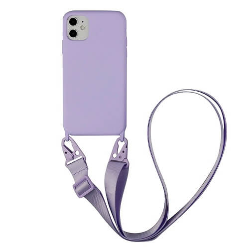 purple Silicone iPhone Case with Crossbody Strap