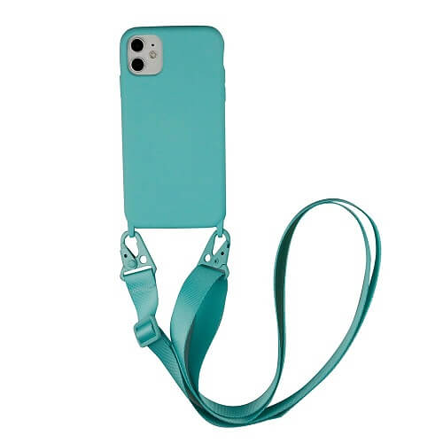 sky blue Silicone phone Case with Crossbody Strap