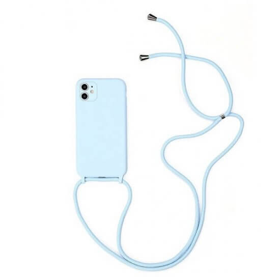 Blue Silicone iPhone Case With Necklace