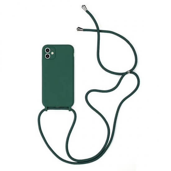 Dark Green Silicone iPhone Case With Necklace
