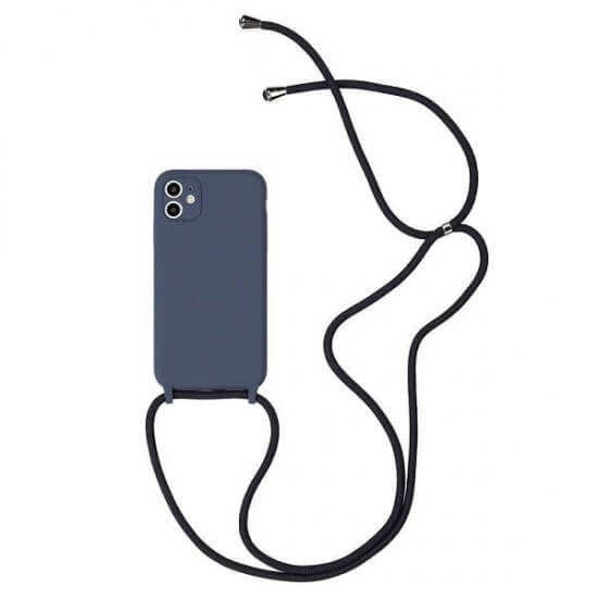 Midnight Blue Silicone phone Case With a Lanyard