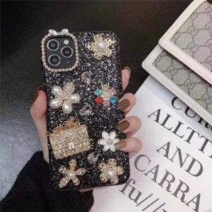Black Fancy Flower Bling iPhone Case