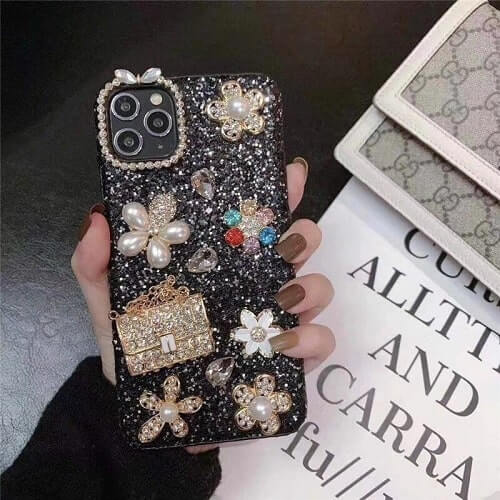 Black Fancy Flower Bling iPhone Case