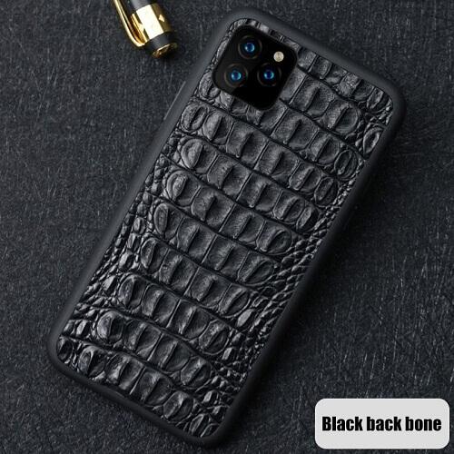 Black back tone real crocodile skin phone case