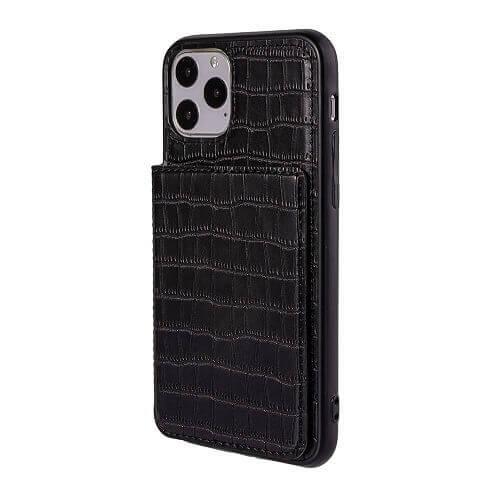 Black iPhone 11 pro max crocodile wallet case