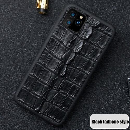 Black tailbone style real crocodile skin phone case