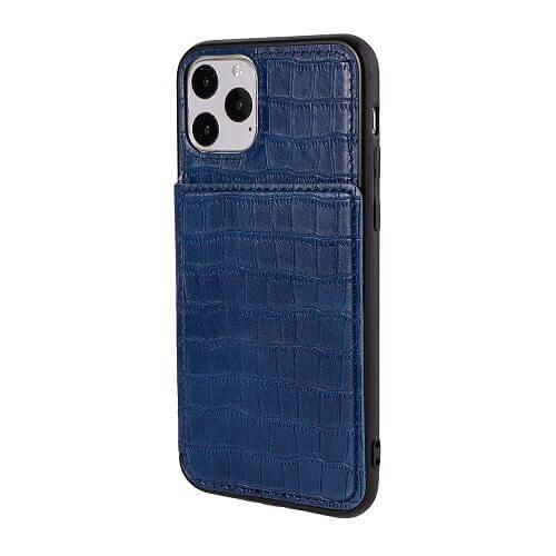 Blue iPhone 11 pro crocodile wallet case