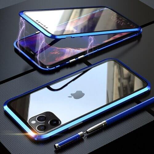 Blue iPhone magnetic adsorption transparent tempered glass cover phone case