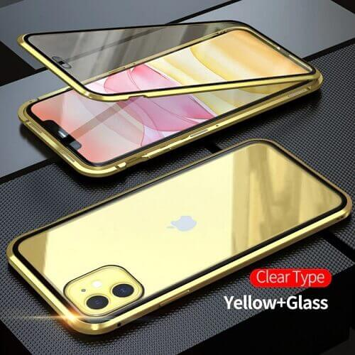 Gold iPhone magnetic adsorption transparent tempered glass cover phone case