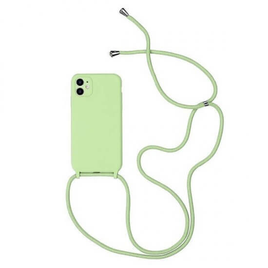 Green Silicone iPhone Case With Necklace