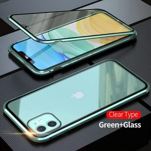 Green iPhone magnetic adsorption transparent tempered glass cover phone case