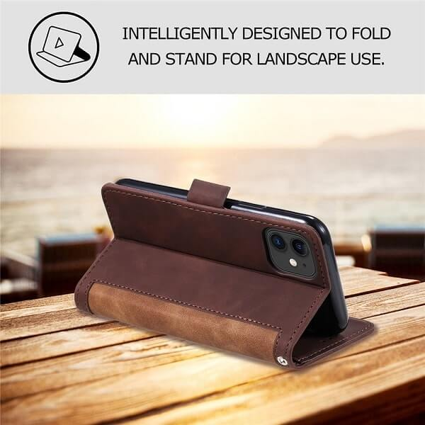 Handmade Leather wallet Magnetic iPhone 11 Pro Case With Card Card