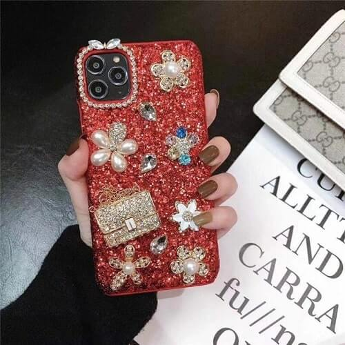 Red Fancy Flower Bling iPhone Case