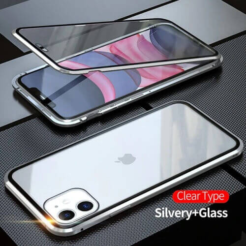 Silver iPhone magnetic adsorption transparent tempered glass cover phone case