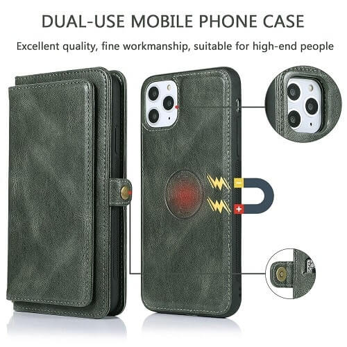 iPhone 11 Pro Max Detachable Magnetic Leather Wallet Case