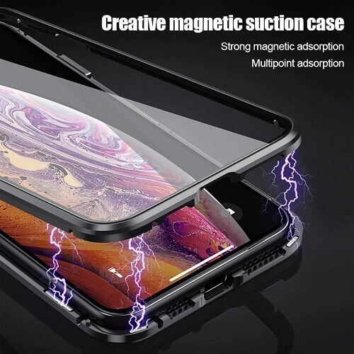 iPhone magnetic adsorption transparent tempered glass cover phone case (1)