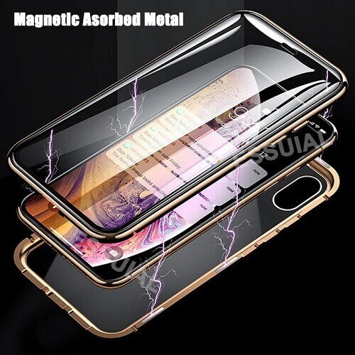 iPhone magnetic adsorption transparent tempered glass cover phone case (2)