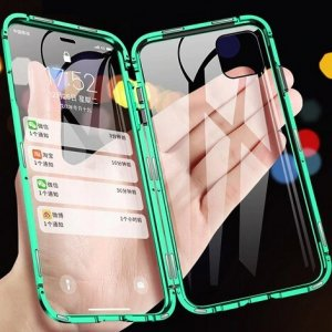 iPhone magnetic adsorption transparent tempered glass cover phone case