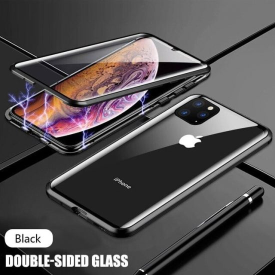 Black Square Magnetic Adsorption Metal iPhone 12 Pro Case