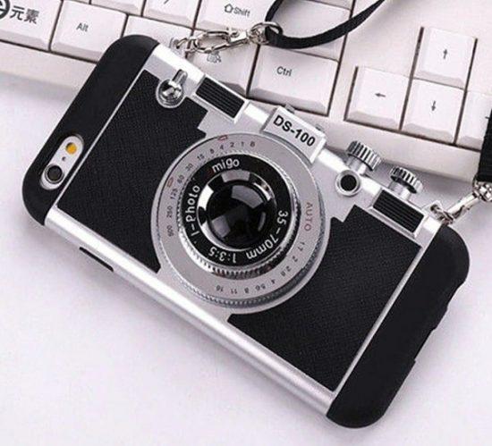 Black vintage 3D camera phone case