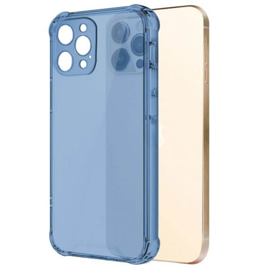 Blue Clear shockproof transparent iPhone case with camera lens protection