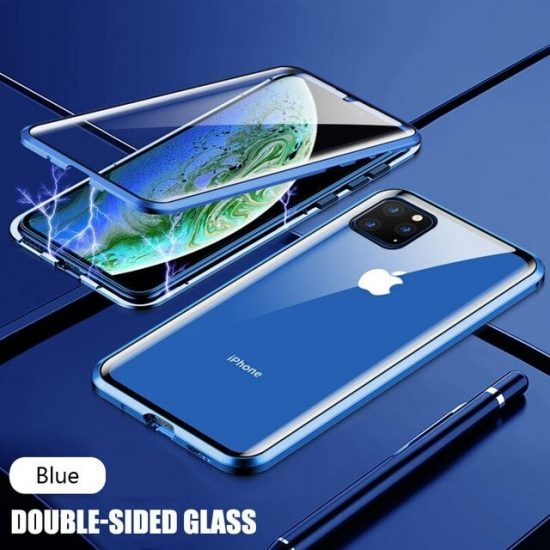 Blue Magnetic Adsorption Metal iPhone 12 Pro Case