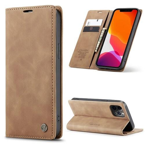 Dark Brown Magnetic Wallet iPhone 12 Pro Max Case