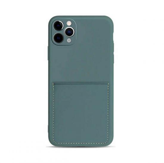 Dark Green iPhone Case With Pocket Wallet