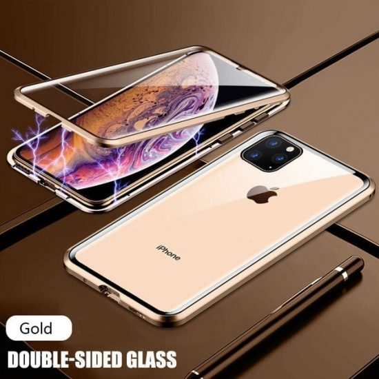 Gold Magnetic Adsorption Metal iPhone 12 Pro Case