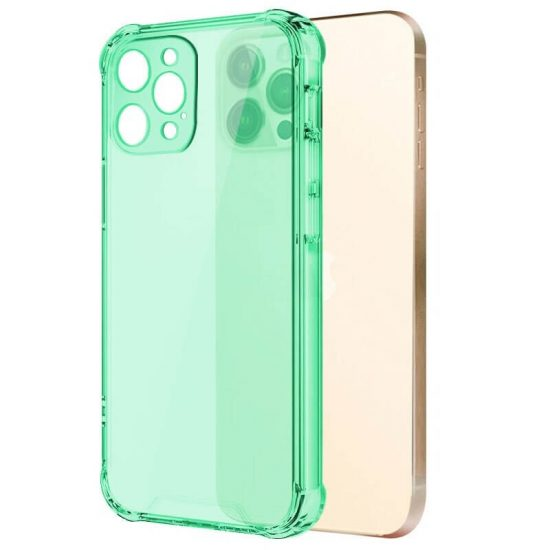 Green Clear shockproof transparent iPhone case with camera lens protection