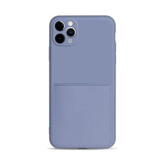 Lavender gray soft silicone case with card holder on back