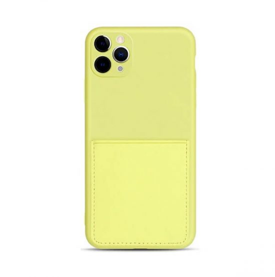 Lemon Yellow iPhone case with pocket wallet
