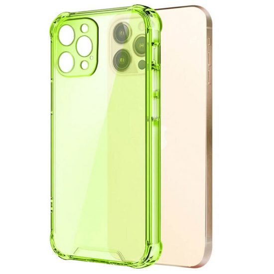 Ligh green shockproof transparent iPhone case with camera lens protection