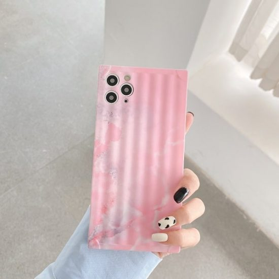 Pink Square Marble Phone Case