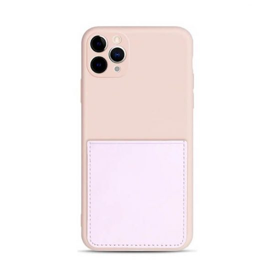 Pink iPhone case with back pocket