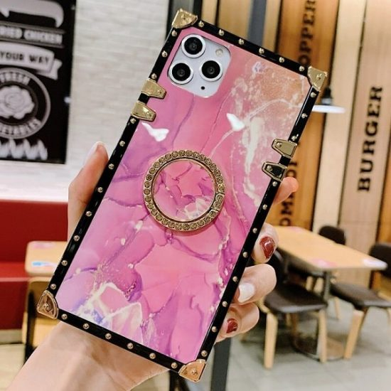 Pink chic marble case with ring