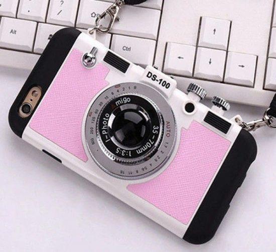 Pink vintage 3D camera phone case