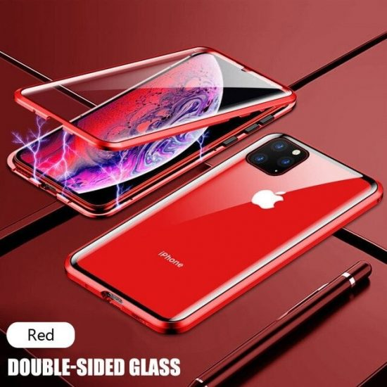 Red Square Magnetic Adsorption Metal iPhone 12 Pro Case