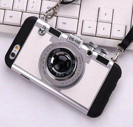 Silver vintage 3D camera phone case