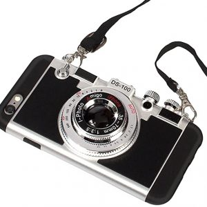 Vintage 3D camera phone case with neck strap