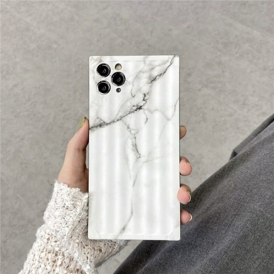 White Square Marble Phone Case